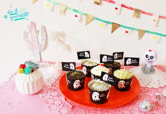 Rezept Vegane Matcha-Cupcakes für Halloween