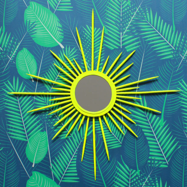 diy neon sunburst mirror