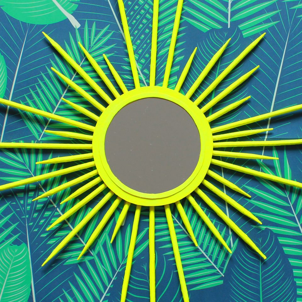 diy neon sunburst mirror
