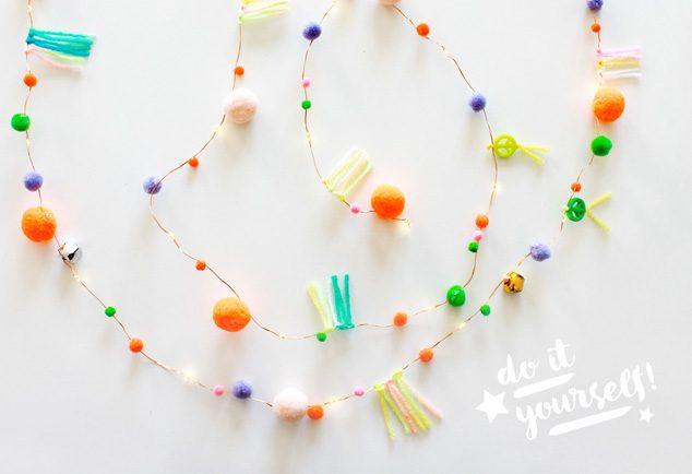 DIY Pompom Lichterkette