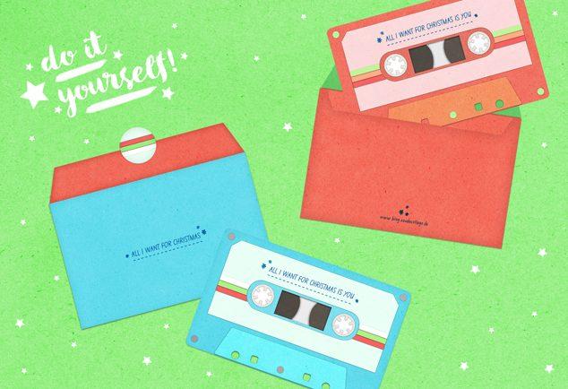 DIY Weihnachtskarte Retro-Kassette