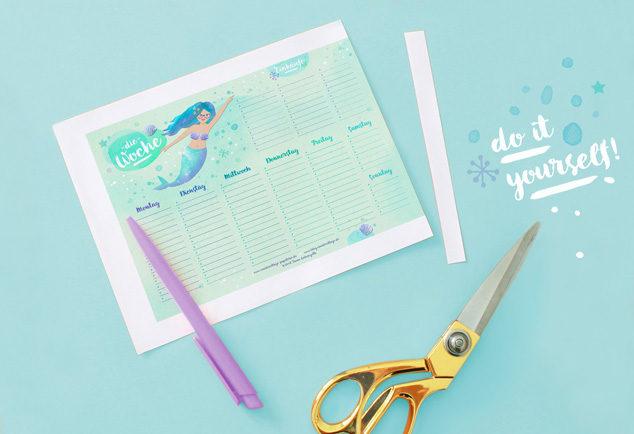 DIY Wochenplan Vorlage zum Ausdrucken / Meerjungfrau Free Printable