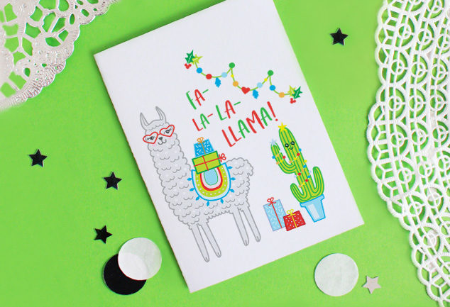DIY Lama Weihnachtskarte basteln Free Printable